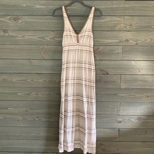 Brown and White Maxi Dress